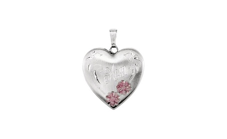 """Sterling Silver Enameled Flowers """"Mom"""" Heart Locket f0414876-c257-4190-bfb9-31d2a06e9250"""