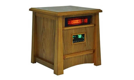 Space Heater In Oak Stain All Wood Cabinet With Digital Thermostat Control