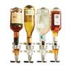 4 Bottle Wall Mounted Stand Optic Dispenser Drinks Wine Beer Steel Bar