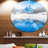 Winter Mountain Lake in Alps' Disc Landscape Photography Circle Metal Wall Art