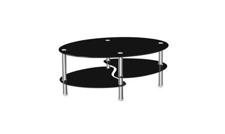 2 Layer Oval Glass Fishtail Living Room Furniture Coffee Table 2 Colors