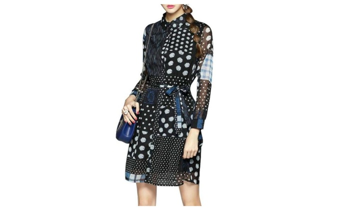 Women's Stylish Slim Fit Dot Print Casual Dress with Belt