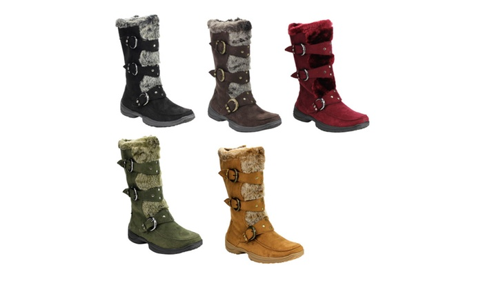 IC01 Women's Studded Buckle Strap Mid-calf Cold Weather Winter Boots
