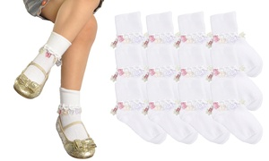 Girls' Turn-Cuff Socks with Jeweled Charms (12-Pack)
