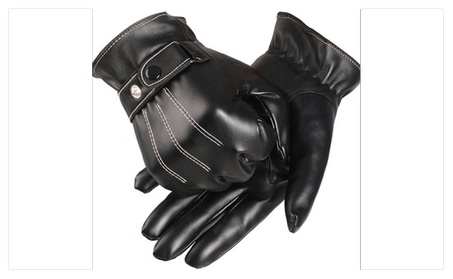 1 Pair Touch Screen Full Finger Leather Gloves 1f3eb955-7812-4abc-abf4-b9d650a84e8f