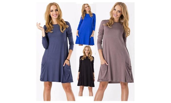 Women's Loose Pockets Swing T-shirt Dress
