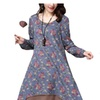Women's Loose Cotton Blend Casual Crew Neck Printed Dress