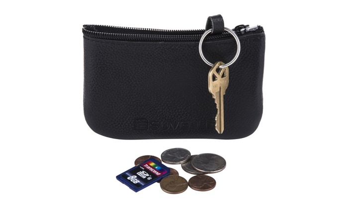 Suvelle Men's Leather Zippered Coin Pouch Purse # WP470