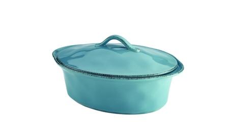 Rachael Ray Cucina Stoneware 3.5-Quart Oval Casserole, Agave Blue eb55a6d1-f0b1-46f0-b1c3-1a16bc7d72fc