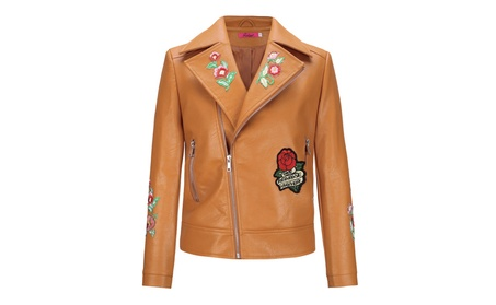Womens Winter Flower Embroidery PU Leather Bomber Moto Jacket 182cc137-ea60-489e-b6ce-b6ab9540b6a9