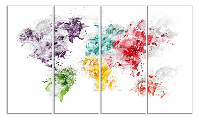 59 off on color splash world map canv groupon goods groupon goods color splash world map canvas art print gumiabroncs Choice Image