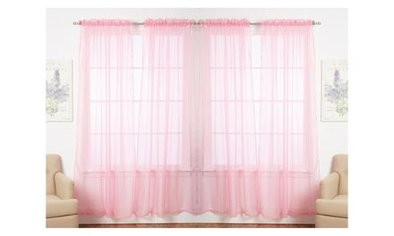 Set of 4 Dorian Solid Color Sheer Rod Pocket Curtain Panels