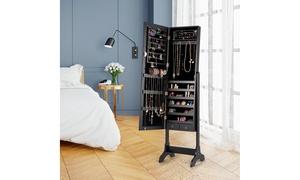 Costway Lockable Mirrored Jewelry Cabinet Armoire Storage Organizer Box
