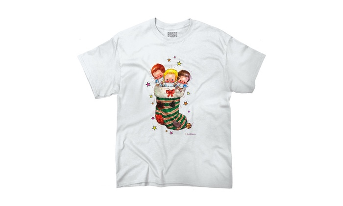 Cute Cheerful Angels In Christmas Stocking T-Shirt