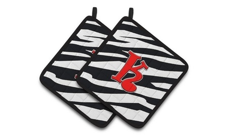 Carolines Treasures CJ1024-KPTHD Monogram Initial K Zebra Red Pair of Pot Holder photo