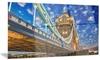 Lights on Tower Bridge Cityscape Metal Wall Art 28x12