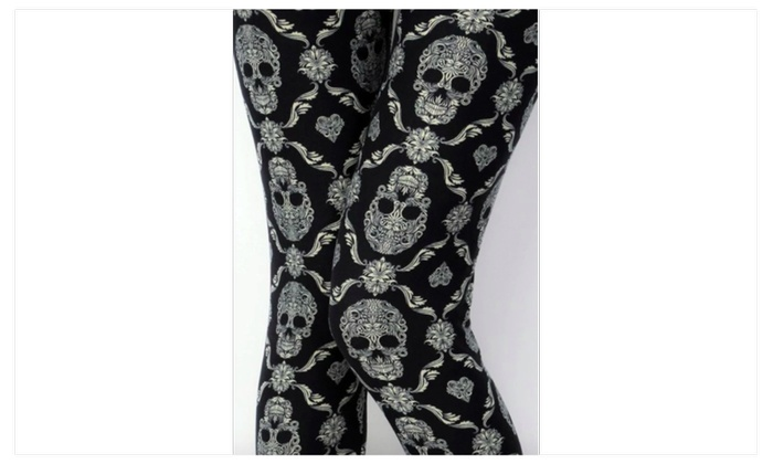 9b35c4fcfe5da1 Plus size 12-18 Women's Black Skull Mandala Punk Gothic Leggings Print