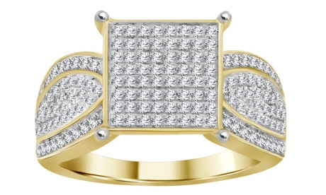 1/2 cttw Round Real Diamond Square Cluster Engagement Ring 10K Yellow Gold
