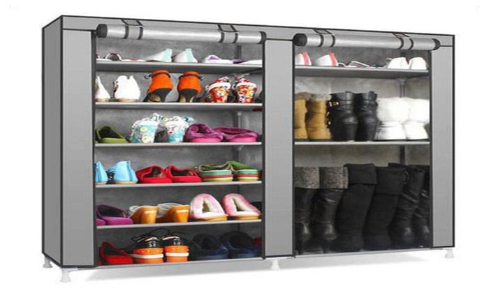 Double Rows Non Woven Fabric Shoe Cabinet Large Shoe Rack Organizer ...