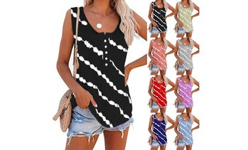 Womens Tank Tops Sleeveless Scoop Neck Henley Shirt Summer Casual Workout Tees