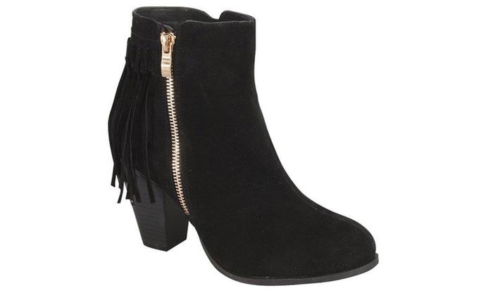 Womens Western Style Chunky Heel Fringe Tassle Booties SH0027