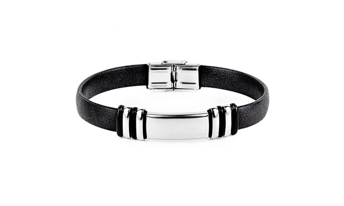 Groupon Goods: Men's Stainless Steel ID Rubber Bracelet