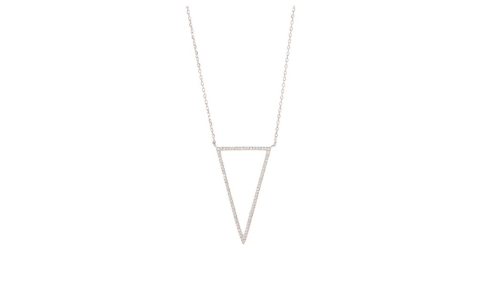 925 Sterling Silver Triangle Outline Necklace with Cubic Zirconia