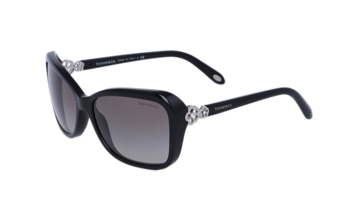 9f2947e2ac2 Tiffany TF4052 B Black Rectangle Clover Embellishment 2015 Sunglasses