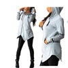 women's irregular hem Hooded with pockets Sweatshirt Jacket