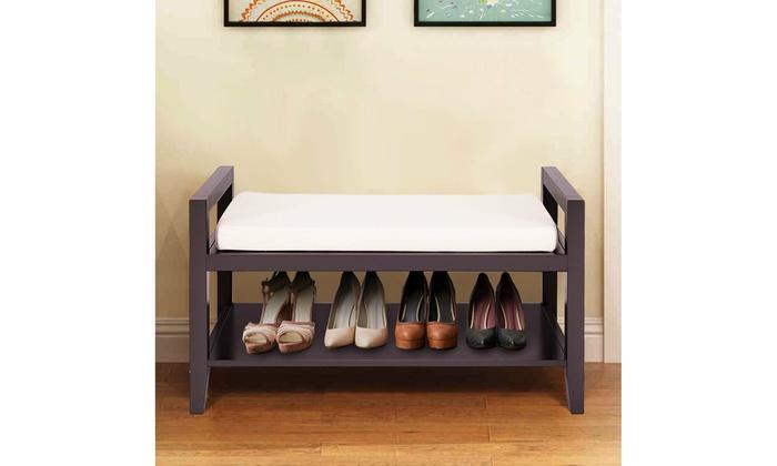 Wood Shoe Bench Storage Rack Cushion Seat Ottoman Bedroom Hallway