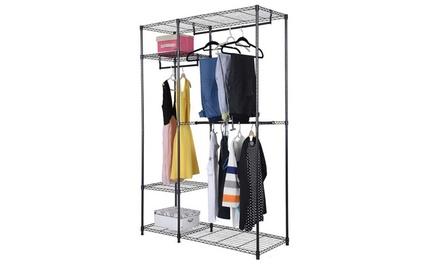4 Tiers Portable Metal Closet Storage Organizer Wardrobe Clothes Rack Was: $70 Now: $53.40.