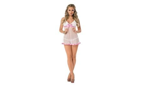 White Sheer Lace & Ribbon Chemise Babydoll Lingerie a7b45761-28e1-4d63-b189-77a4aa2238dd