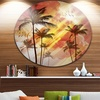 Palm Tree at Sunset' Disc Photography Circle Metal Wall Art