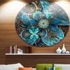 Fractal Blue Flowers' Disc Floral Circle Metal Wall Art