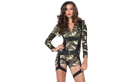 Leg Avenue Women's Going Commando Set Sexy Spandex Camo Romper Halloween Costume