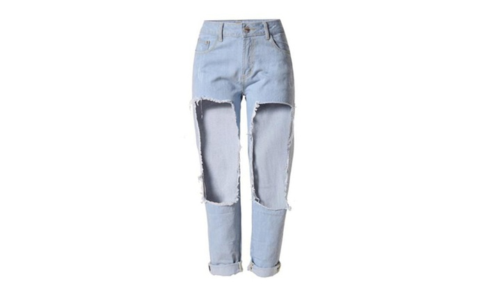 Women's Loose Destroyed Washed Scratch Ankle Hole Jeans