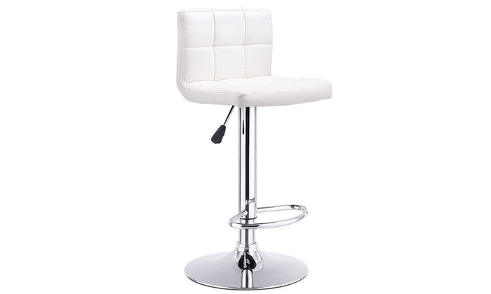 Bar Stool Swivel Adjustable PU Leather Barstools Bistro Pub Chair ...