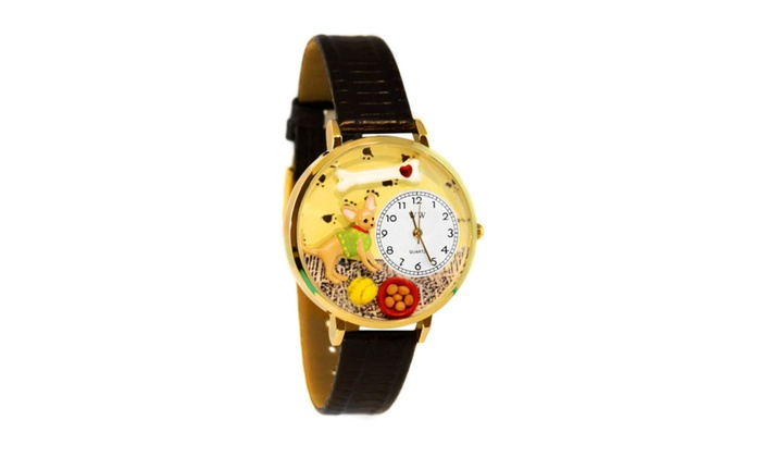 Clickhere2shop: Whimsical Chihuahua Black Skin Leather And Goldtone Watch