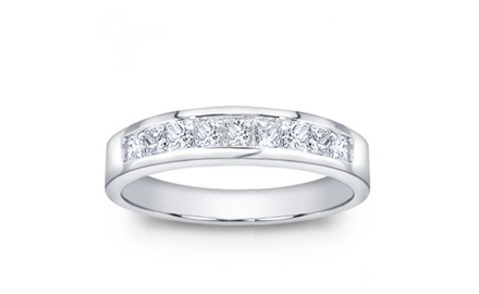 1.00 ct Men's Princess Cut Diamond Wedding Band Ring In Channel Setting