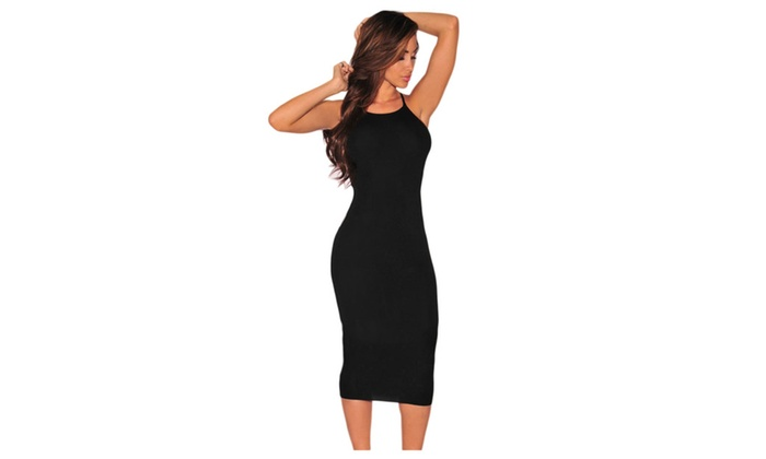 Women's Black Hardware Cut Out Sides Dress