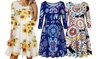 Women 3/4 Sleeve Floral Print Dress with Pocket