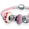 Bling Jewelry Silver Enamel Glass Crystal Bead Charm Bracelet