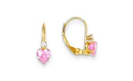 IceCarats Designer Jewelry 14k Madi K Clear/Pink CZ Heart Leverback Earrings