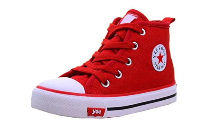 Little Kid Pure Color Lace Up High Top Canvas Shoes