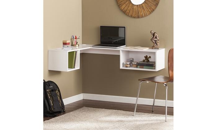 up to 29 off on fynn wall mount corner desk livingsocial shop. Black Bedroom Furniture Sets. Home Design Ideas