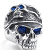 Titanium Stainless steel Classic Retro Skull Blue Zircon Rings