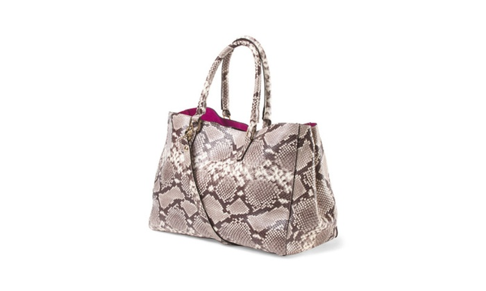 Alberta Di Canio Snake Print Leather Tote Made In Italy