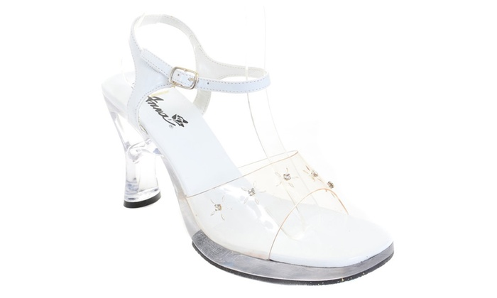 Clear Rhinestone Heel White Sandal Women's Low Heels