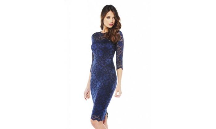 AX Paris Lace 3 4 Sleeve Midi  Dress