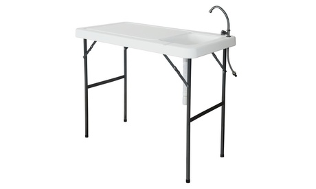 Folding Fish Fillet & Hunting & Cutting Table with Sink Faucet